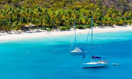 Sailboats Anchored by Beach