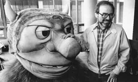 Maurice Sendak poses with one of the characters from his book Where the Wild Things Are