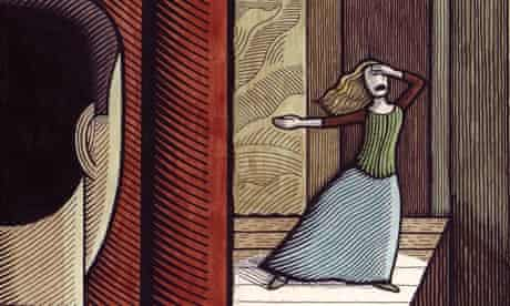Clifford Harper illustration of a woman on stage