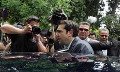 Syriza leader Alexis Tsipras leaving the presidential palace