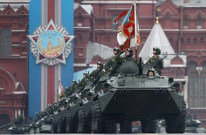 Victory Day in Russia: Russian military personnel pass Red square during the Victory Day parade