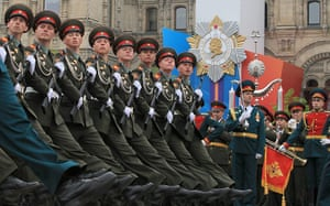 Victory Day in Russia: Russian soldiers march during the Victory Day parade