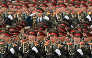 Victory Day in Russia: Russian soldiers march in Red Square, Moscow