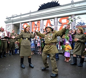 Victory Day in Russia: Wearing a WWII Red Army uniform with medals, a veteran dances