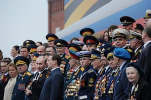 Victory Day in Russia: President Vladimir Putin and new Prime Minister Dmitry Medvedev speak
