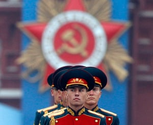 Victory Day in Russia: Russian servicemen take part in the Victory Parade on Moscow's Red Square