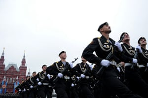 Victory Day in Russia: Russian naval soldiers march during Victory Day parade in Red Square