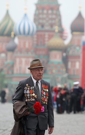 Victory Day in Russia: A Russian WWII veteran walks in Red square