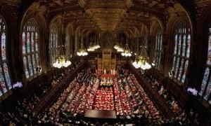 Peers wait to hear the Queen's speech