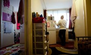 Woman in homeless hostel