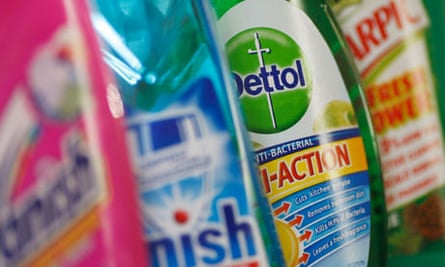 Reckitt Benckiser products including Vanish, Finish, Dettol and Harpic are seen in London