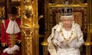 Britain's Queen Elizabeth reads the Queen's Speech