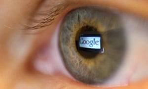 Google logo reflected in eye