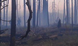 Wildfires in the US: Firefighters are seen moving through the burnt out terrain in New Mexico