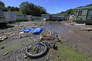 Wales floods: The scene at Riverside Caravan Park in Llandre, Wales
