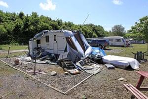 Wales floods: The scene at Riverside Caravan Park in Llandre