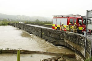 Wales floods: The A487 into Machynlleth in Powys, Wales