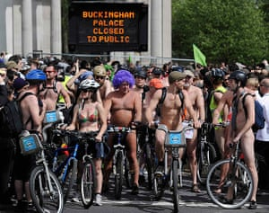 Nude Cyclists: London, UK: Naked cyclists gather in Hyde Park before setting off