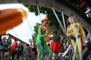 Nude Cyclists: Thessaloniki, Greece: Cyclists take part in an annual naked bike ride