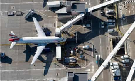 Aerial view of planes on apron at London Heathrow Airport, UK