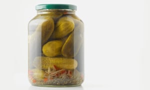 A jar of pickled gherkins