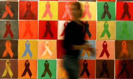 An artwork by Athina Robie inside Athens' Syntagma metro station depicts Aids awareness ribbons