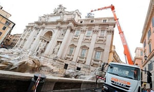Trevi fountain inspected after pieces of top frieze fell off