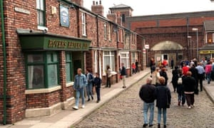 Tourists visit the Coronation Street set during the time when Granada ran studio tours