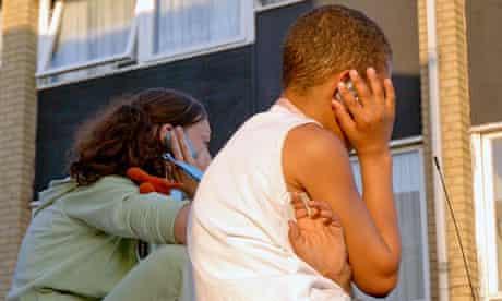 Children talk on mobile phones