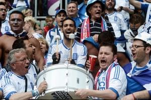 Greece v Czech: Greek fans play drums