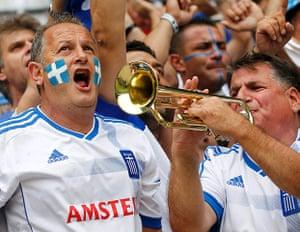 Greece v Czech: Greece soccer fans cheer