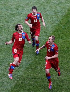 Greece v Czech: Czech Republic's Jiracek celebrates
