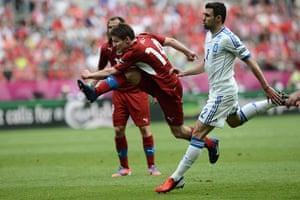 Greece v Czech2: Czech midfielder Vaclav Pilar shoots
