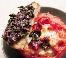 Baked tomato and black olive toasts