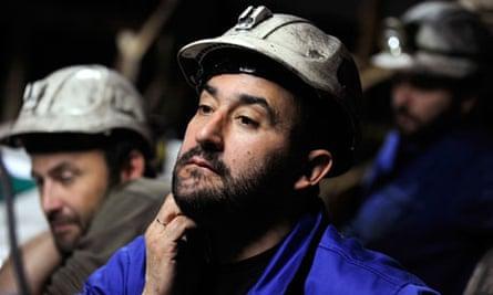 Coal miner Primitivo Basalo with fellow strikers at the mine of Santa Cruz del Sil in northern Spain