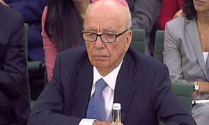 Rupert Murdoch giving evidence before select committee