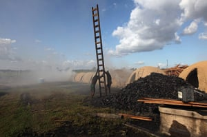 Amazon deforestation : Workers hold a ladder as they prepare to load charcoal