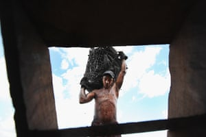 Amazon deforestation : A worker carries a basket of charcoal
