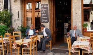 Greece, Peloponnese, Arcadia, Dimitsana village, cafe