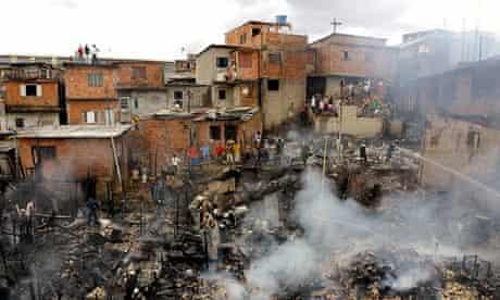 Shanty town in Brazil on fire