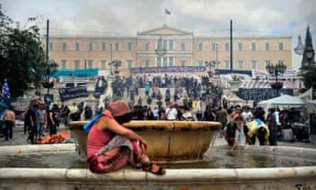 A demonstration near the Greek parliament