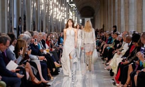 Models present creations from Salvatore Ferragamo Cruise 2013 show at the Louvre museum in Paris