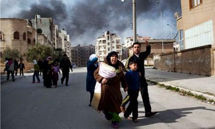 family escapes in Idlib