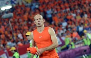 sporty10: Dutch midfielder Arjen Robben reacts aft