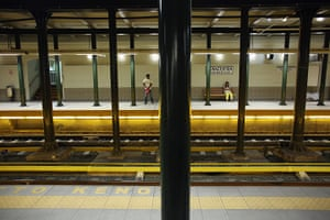 Greece: 13-14 June: Passengers wait for an underground train in the early morning in Athens