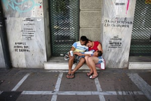 Greece: 13-14 June: A family beg on the street in Athens
