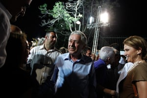 Greece: 13-14 June: Fotis Kouvelis, centre, talks to supporters after a main pre-election rally