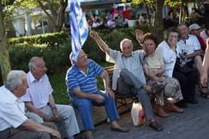 Greece: 13-14 June: Supporters of Evangelos Venizelos wait to hear him speak at a rally, Athens