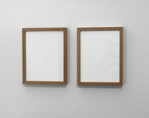 Invisible Art: Two picture frames containing blank white paper