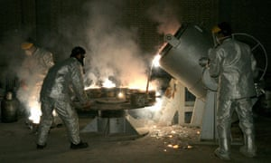 Technicians at a uranium processing site in Isfahan